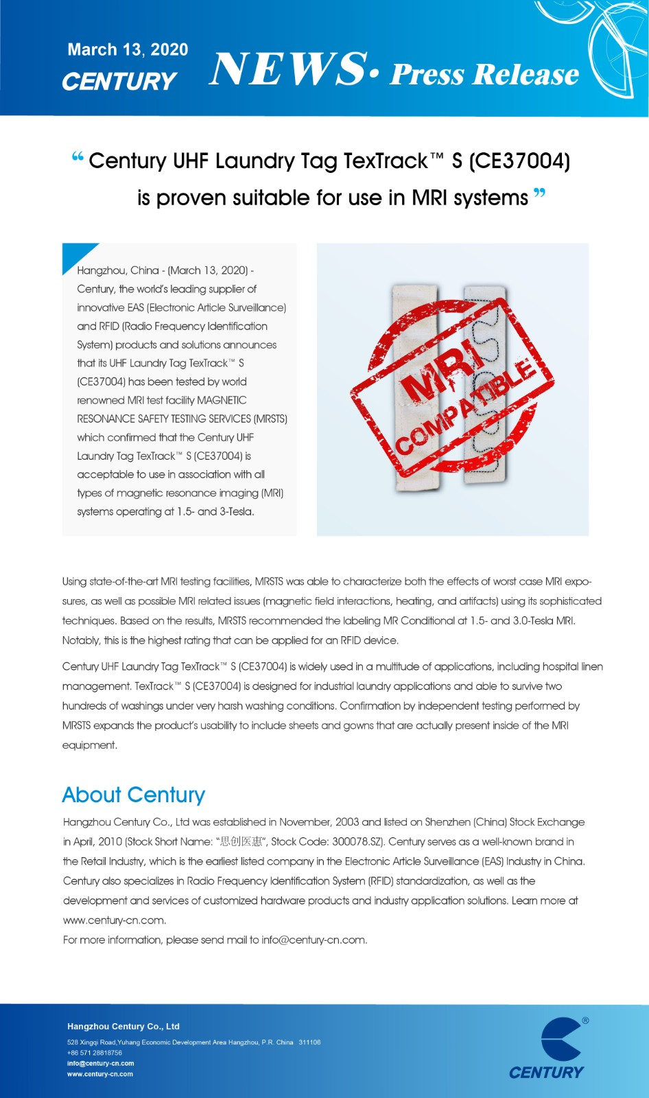 Century UHF Laundry Tag TexTrack™ S (CE37004) is Proven Suitable for Use in MRI Systems.jpg